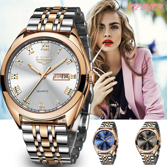 LIGE Fashion Women Watches Ladies Top Brand luxury Waterproof Gold Quartz Watch Women Stainless Steel Date Wear Gift Clock 2019