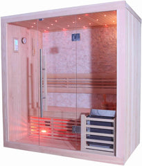 "Sunray Westlake Luxury Traditional Steam Sauna 3 Person Cultured Stone Interior 71""x42""x75"" 300LX"