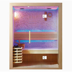 "SunRay Seacrest Luxury Traditional 2 Person Steam Sauna 59""x42""x75"" 220LX - Houux"