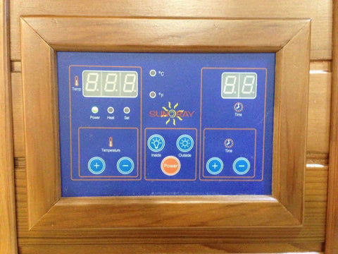 "Sunray Bristol Bay 4 Person Canadian Red Cedar Infrared Sauna 65"" x 65"" x 75"" HL400KC Controls"