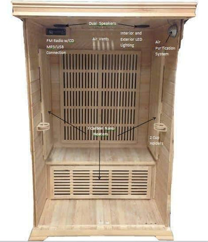 "SunRay Barrett 1-2 Person Infrared Sauna 36"" x 42"" x 75"" HL100C - Houux"