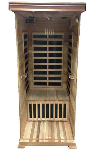 "SunRay Saunas Sedona Luxury 1 Person FAR Infrared Sauna Red Cedar 36""X42""X75"" HL100K - Houux"