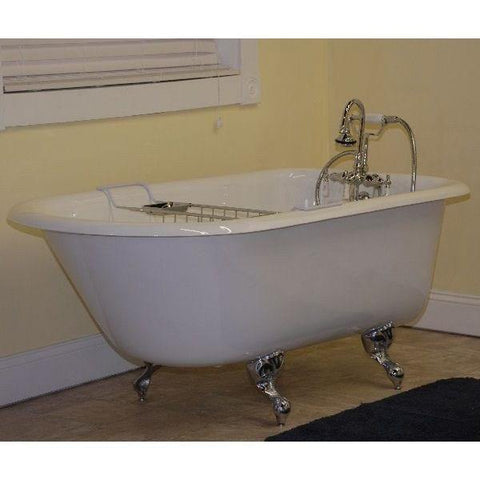"Cambridge Plumbing Cast-Iron Rolled Rim Clawfoot Tub 55"" X 30"" RR55 - Houux"