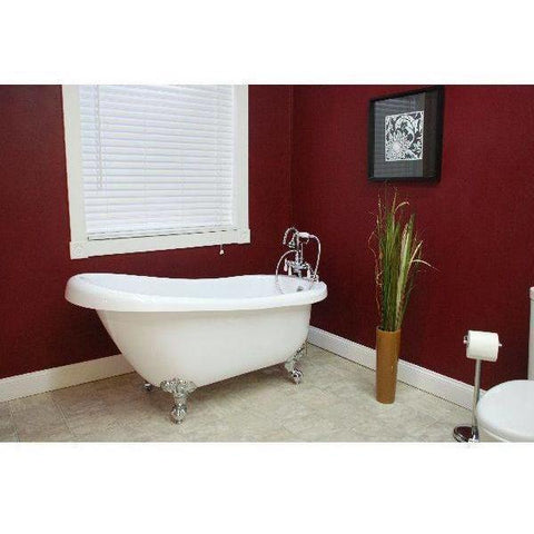 "Cambridge Plumbing Clawfoot Acrylic Slipper Freestanding Bathtub 61"" X 30"" AST61 - Houux"