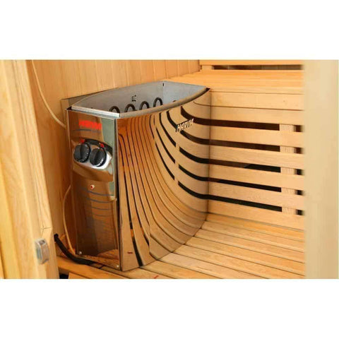 "SunRay Saunas Tiburon 4 Person Traditional Steam Sauna 69""x63""x79"" HL400SN Inside"