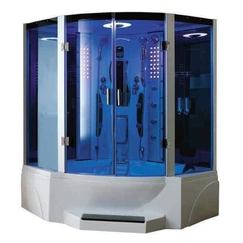 "Mesa 608P Steam Shower 63"" x 63"" x 85"" Blue Glass - Houux"