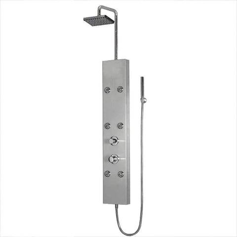 ARIEL Shower Panel Stainless Steel A301 - 6 Body Massage Jets - Houux