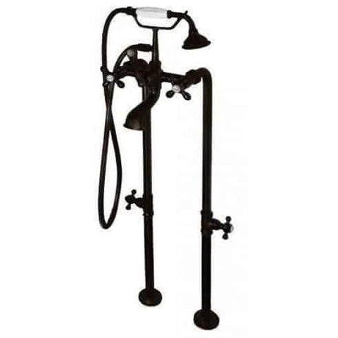 Cambridge Plumbing Clawfoot Tub Freestanding British Telephone Faucet & Hand Held Shower Combo CAM398463 - Houux