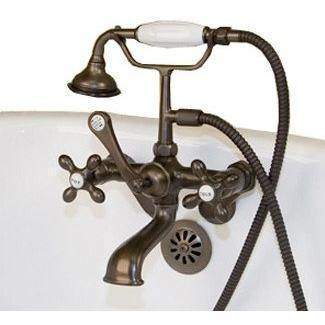 Cambridge Plumbing Clawfoot Tub Faucet - British Telephone w/ Hand Held Shower CAM463W - Houux