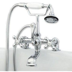Cambridge Plumbing Clawfoot Tub Deck Mount Brass Faucet w/ Hand Held Shower CAM463-2 - Houux