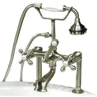"Cambridge Plumbing Clawfoot Tub Faucet w/ Hand Held Shower- 6"" Brass CAM463-6 - Houux"