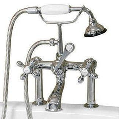 "Cambridge Plumbing Clawfoot Tub Faucet w/ Hand Held Shower- 6"" Brass CAM463-6"