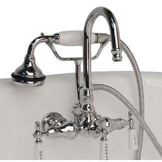 Cambridge Plumbing Clawfoot Tub Faucet - Brass Wall Mount w/ Hand Held Shower CAM684W
