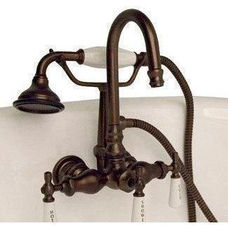 Cambridge Plumbing Clawfoot Tub Faucet - Brass Wall Mount w/ Hand Held Shower CAM684W - Houux