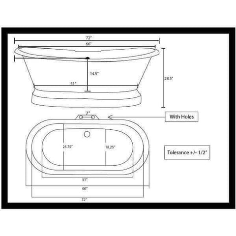 "Cambridge Plumbing Cast Iron Double Ended Pedestal Slipper Tub 72"" X 30"" DES PED - Houux"
