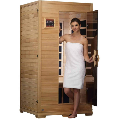 "Golden Designs ""Studio Series"" 1-2-person Low EMF  Far Infrared Sauna Canadian Hemlock GDI-6109-01 - Houux"