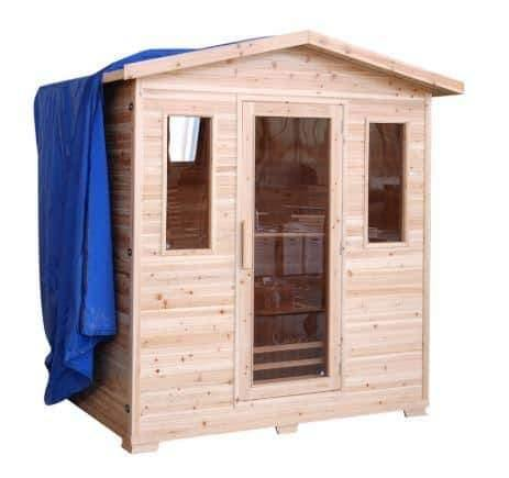 "SunRay Saunas Grandby 3 Person Outdoor FAR Infrared Sauna 72"" x 47"" x 83"" HL300D - Houux"