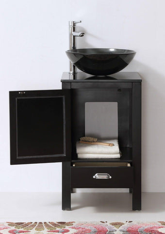 "Legion Furniture 18.5"" Black Color Wood Sink Vanity With Glass Top-No Faucet WH5518-B"