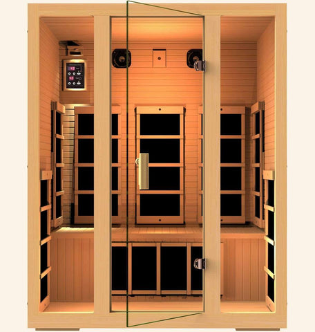 JNH Lifestyles Joyous 3 Person Hemlock Wood Carbon Fiber Far Infrared Sauna (2019 Model) - Houux
