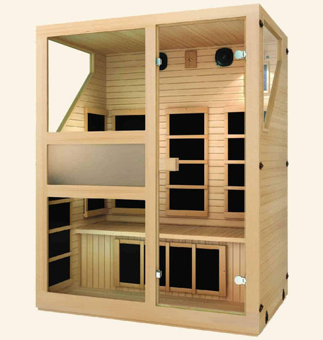 JNH Lifestyles Ensi 3 Person Hemlock Wood Zero-EMF Far Infrared Sauna - Houux