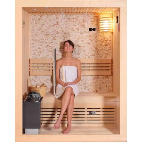 "SunRay Rockledge Traditional Finnish 2 Person Steam Sauna 59"" x 42"" x 75"" 200LX - Houux"