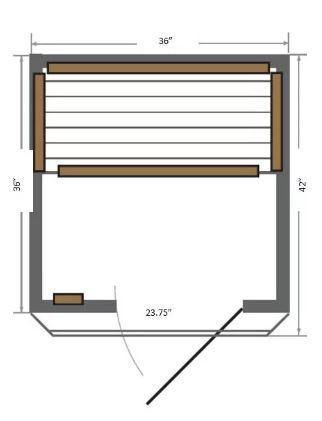"SunRay Barrett 1-2 Person Infrared Sauna 36"" x 42"" x 75"" HL100C Diagram"