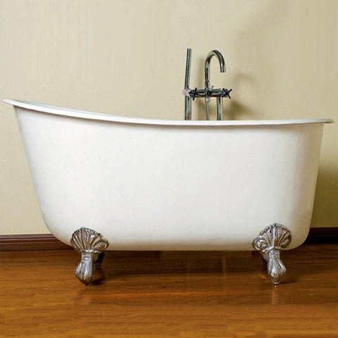 "Cambridge Plumbing Cast Iron Clawfoot Swedish Slipper Tub 54"" X 30"" w/ No Faucet SWED54 - Houux"