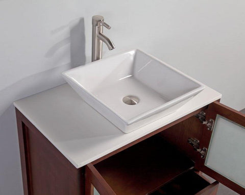 "Legion Furniture 24"" Cherry Solid Wood Sink Vanity With Mirror WA7824C"