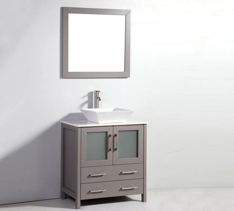 "Legion Furniture 30"" Light Gray Solid Wood Sink Vanity With Mirror WA7830LG"