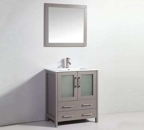 "Legion Furniture 30"" Light Gray Solid Wood Sink Vanity With Mirror WA7930LG"