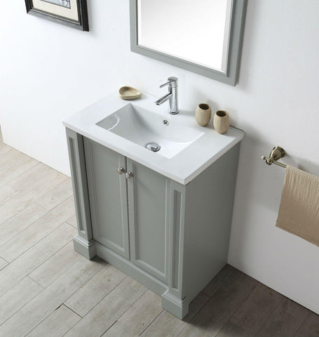 "Legion Furniture WH7130-CG 30"" Wood Sink Vanity With Ceramic Top, No Faucet"