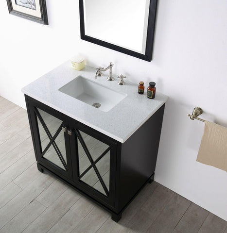 "Legion Furniture WH7436-E 36"" Wood Sink Vanity With Quartz Top, No Faucet"