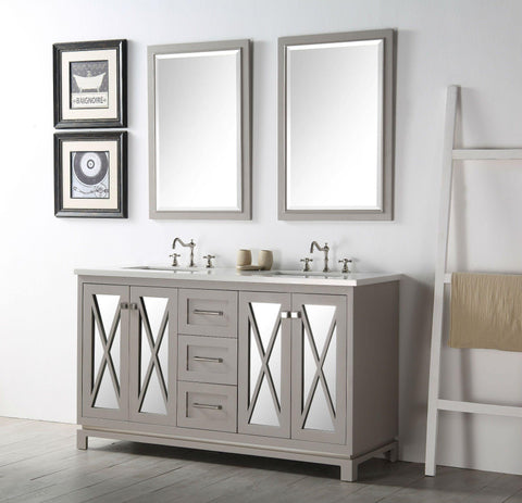 "Legion Furniture WH7460-WG 60"" Wood Sink Vanity With Quartz Top, No Faucet"