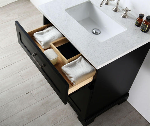 "Legion Furniture WWH7636-E 36"" Wood Sink Vanity With Quartz Top, No Faucet"