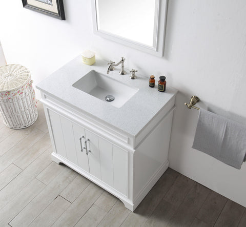 "Legion Furniture WH7736-W 36"" Wood Sink Vanity With Ceramic Top, No Faucet"