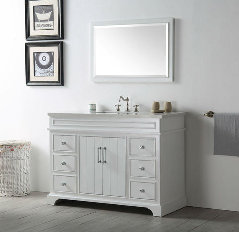 "Legion Furniture WH7748-W 48"" Wood Sink Vanity With Ceramic Top, No Faucet"