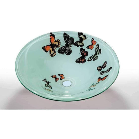 Legion Furniture Tempered Glass Vessel Sink Bowl Butterfly Frosted ZA-107-1