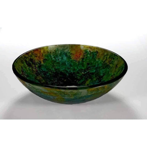 Legion Furniture Tempered Glass Vessel Sink Bowl Butterfly and Green ZA-107 - Houux