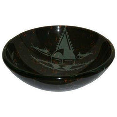 Legion Furniture Tempered Glass Vessel Sink Bowl Black and Gray ZA-11 - Houux