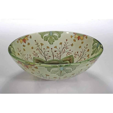 Legion Furniture Tempered Glass Vessel Sink Bowl - Floral Spring ZA-129 - Houux