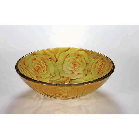 Legion Furniture Tempered Glass Vessel Sink Bowl Yellow Rose ZA-169 - Houux