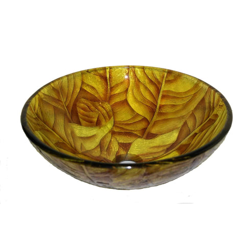 Legion Furniture Tempered Glass Vessel Sink Bowl Yellow Leaf ZA-203 - Houux