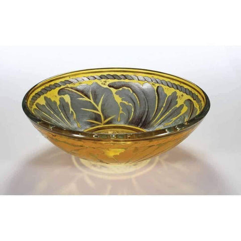 Legion Furniture Tempered Glass Vessel Sink Bowl - Golden Leaf ZA-83 - Houux
