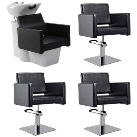DIR Salon Adjustable Seat Backwash (1) and Styling Chair (3) - Salon Package DIR 7637-1288 - Houux