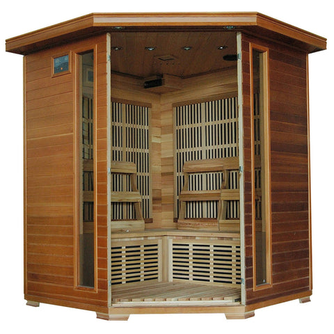 Whistler 4-Person Cedar Corner Infrared Sauna w/ 10 Carbon Heaters - Houux