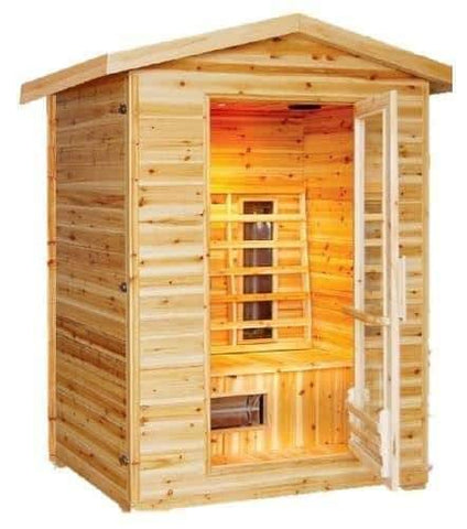 "SunRay Saunas Burlington 2 Person Outdoor Infrared Sauna Solid Canadian Hemlock Wood 57"" x 45.3"" x 83"" HL200D - Houux"