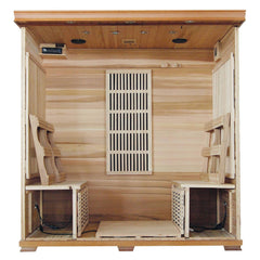 Klondike 4-Person Cedar Infrared Sauna with Chromotherapy Lighting