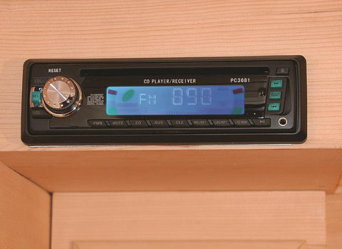 "Sunray Bristol Bay 4 Person Canadian Red Cedar Infrared Sauna 65"" x 65"" x 75"" HL400KC Radio"
