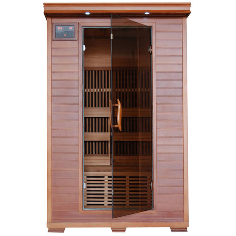 Yukon 2-Person Cedar Deluxe Infrared Sauna w/ 6 Carbon Heaters - Houux