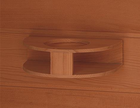 "Sunray Bristol Bay 4 Person Canadian Red Cedar Infrared Sauna 65"" x 65"" x 75"" HL400KC Shelf"